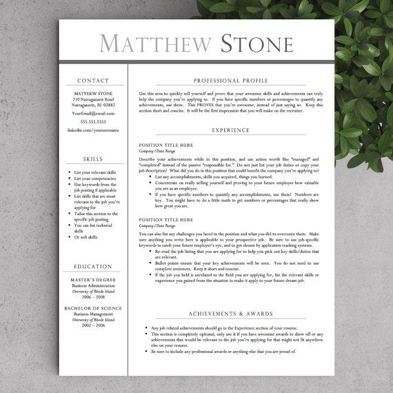 Professional Resume Template for Word (US Letter and A4 Sizes) 1 - writing a professional profile