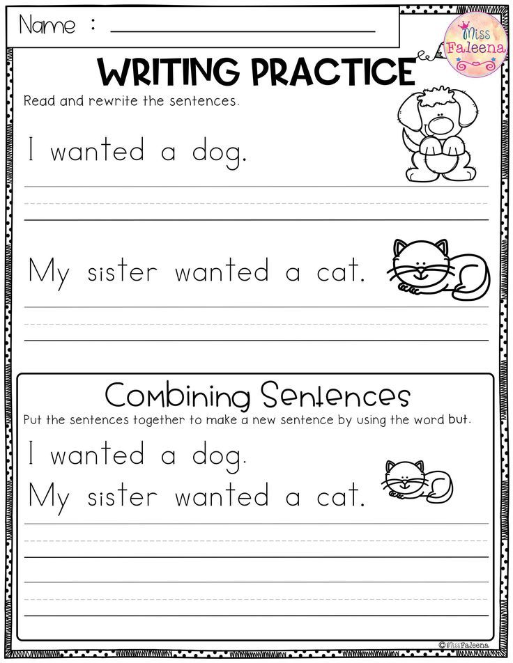 Free Writing Practice (Combining Sentences). This Product Has 3 Pages Of  Sentence Wr… Writing Practice Worksheets, Writing Practice, Writing  Sentences Worksheets