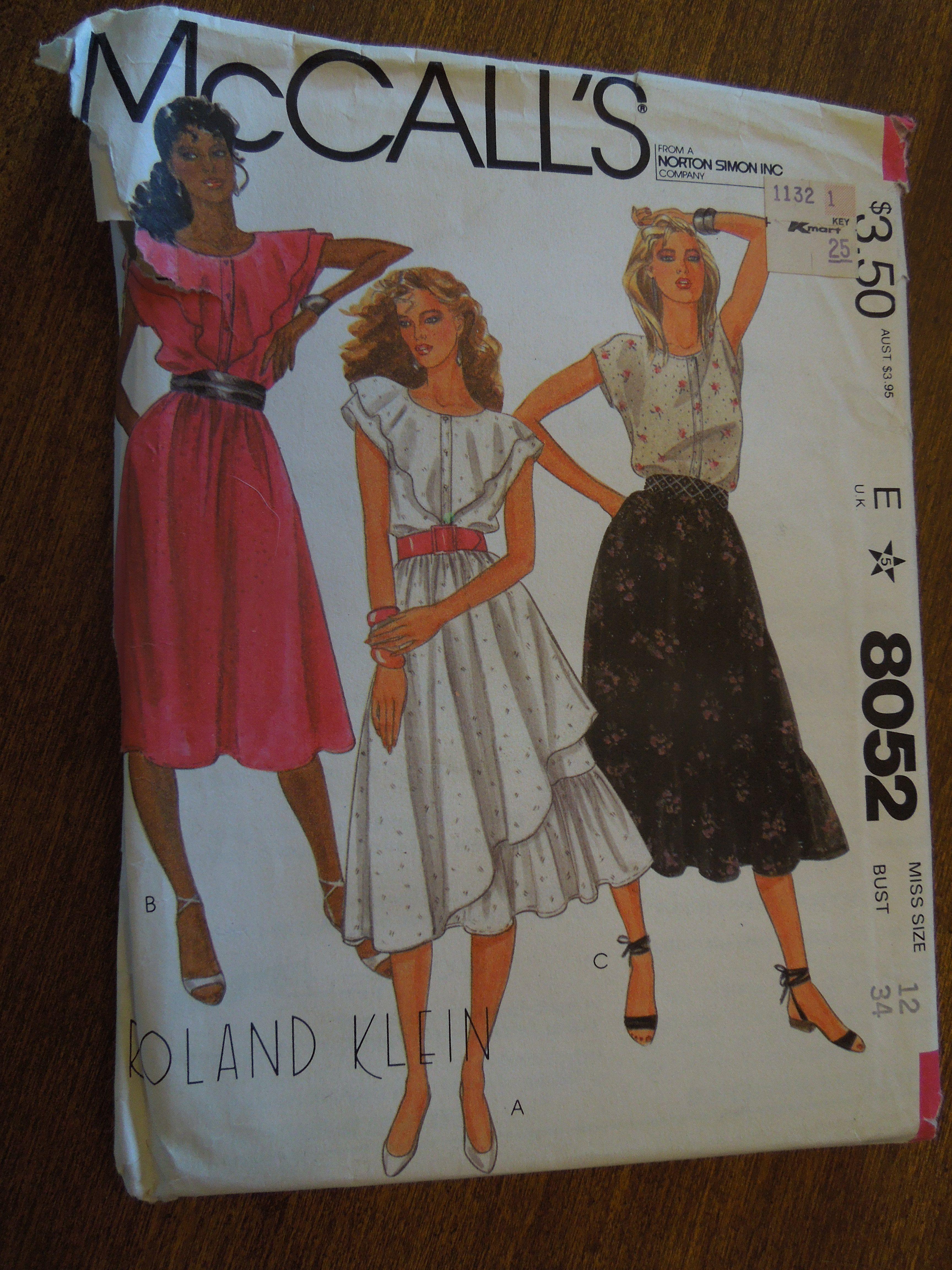 McCalls 8052, size 12, top, skirt, misses, UNCUT sewing pattern ...