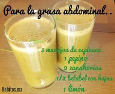 Jugo PARA LA GRASA ABDOMINAL: espinacas, pepino, zanahoria, betabel y limón