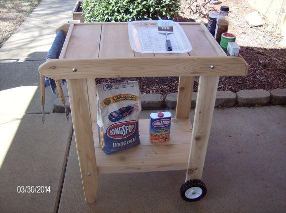 Perfect Cedar Bbq Cart Prep Table New Handcrafted