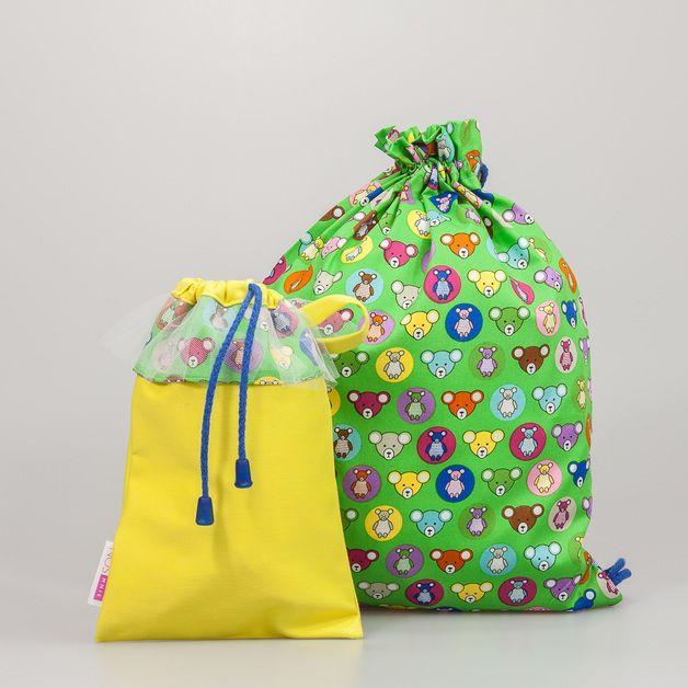 Nos Mnie Worek L Zielony W Kolorowe Misie Bags Drawstring Backpack Backpacks