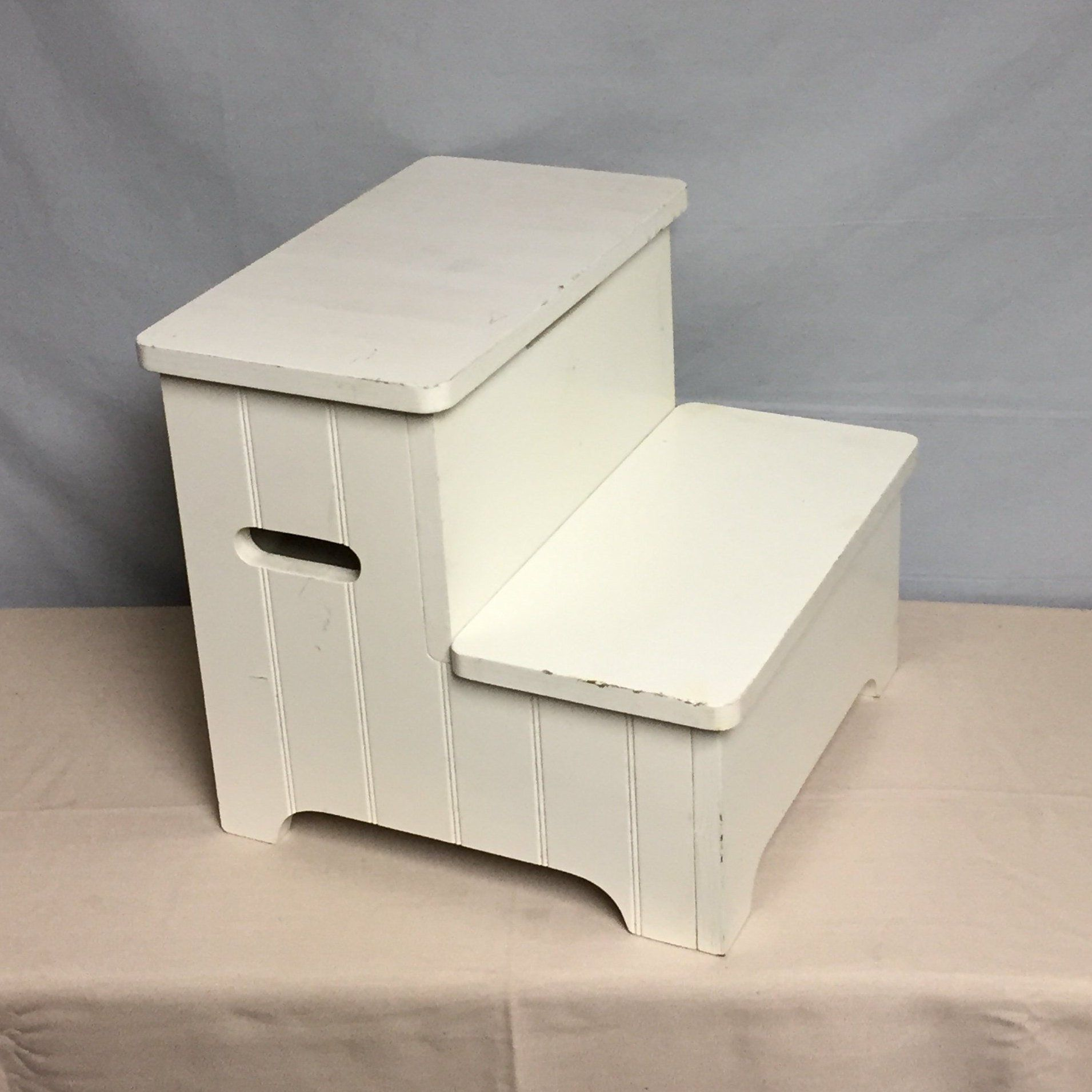 White Wooden Step Stool With Storage Compartment Child S Step Up