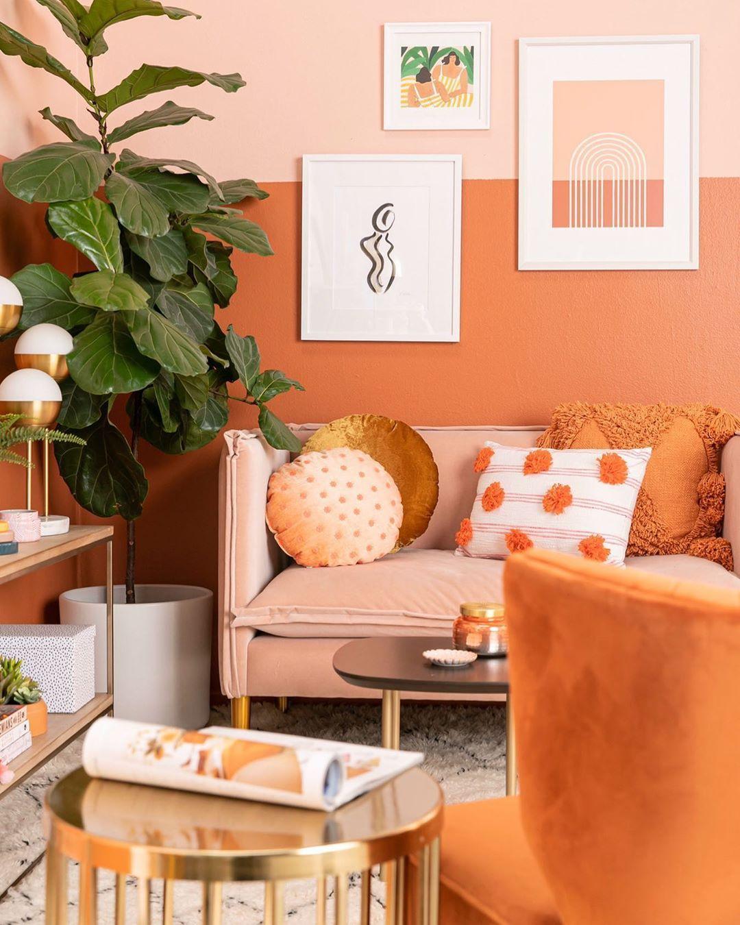 Duo Tone Half Wall In 2020 Living Room Orange Vibrant Li