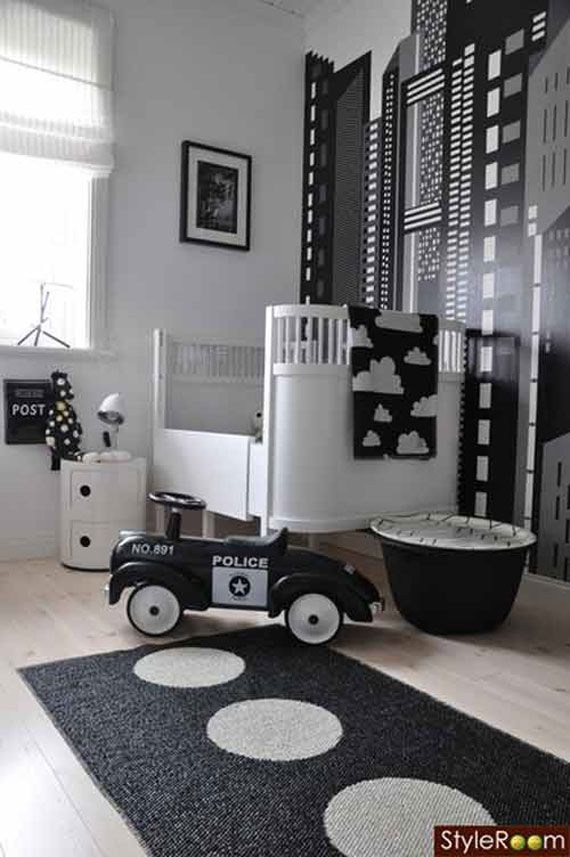 Elegant Black And White Babies Rooms Decoration Ideas