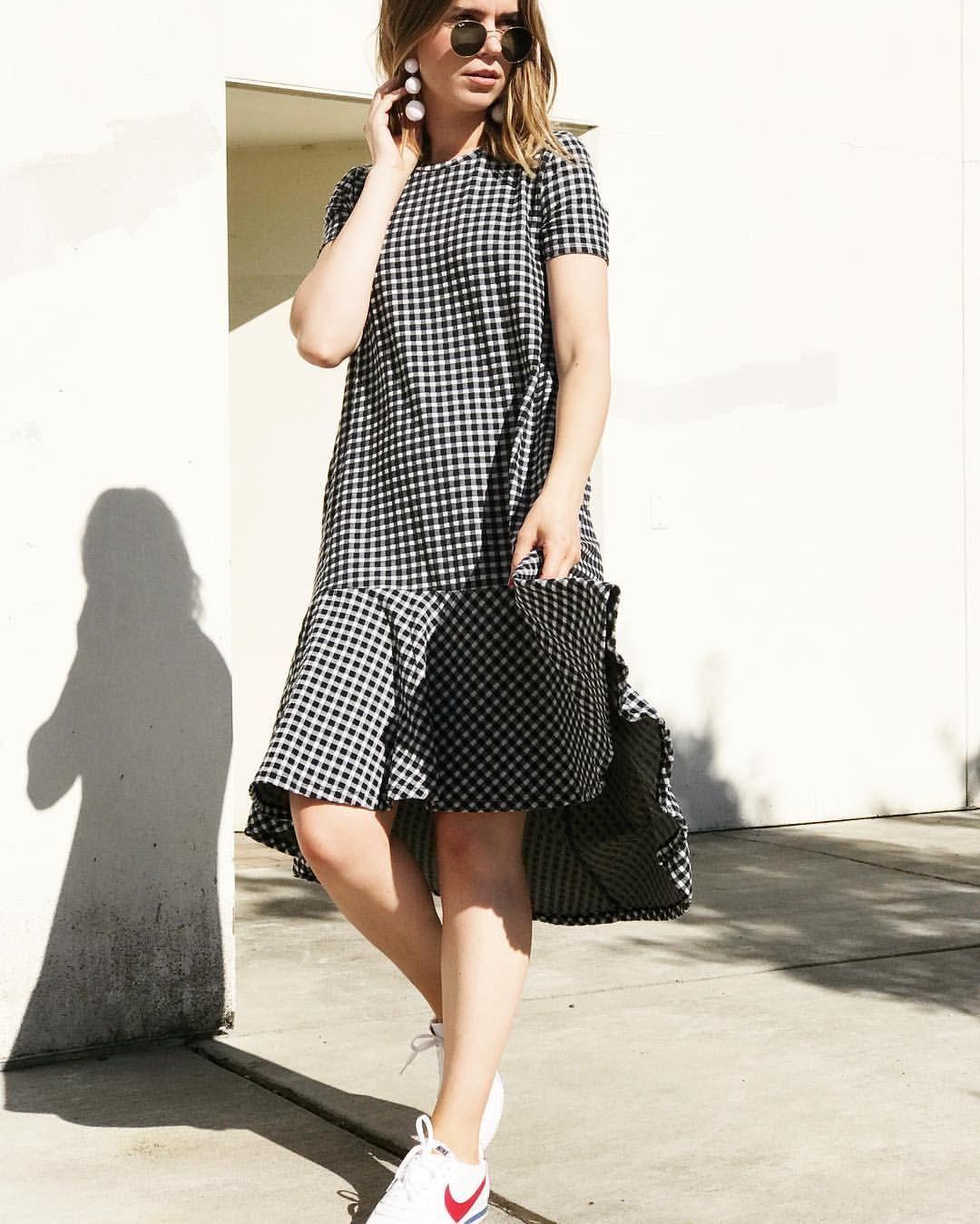 #thegirlishtomboy #outfit #style #streetstyle #fashion #sneakers #nike #nikecortez #gingham