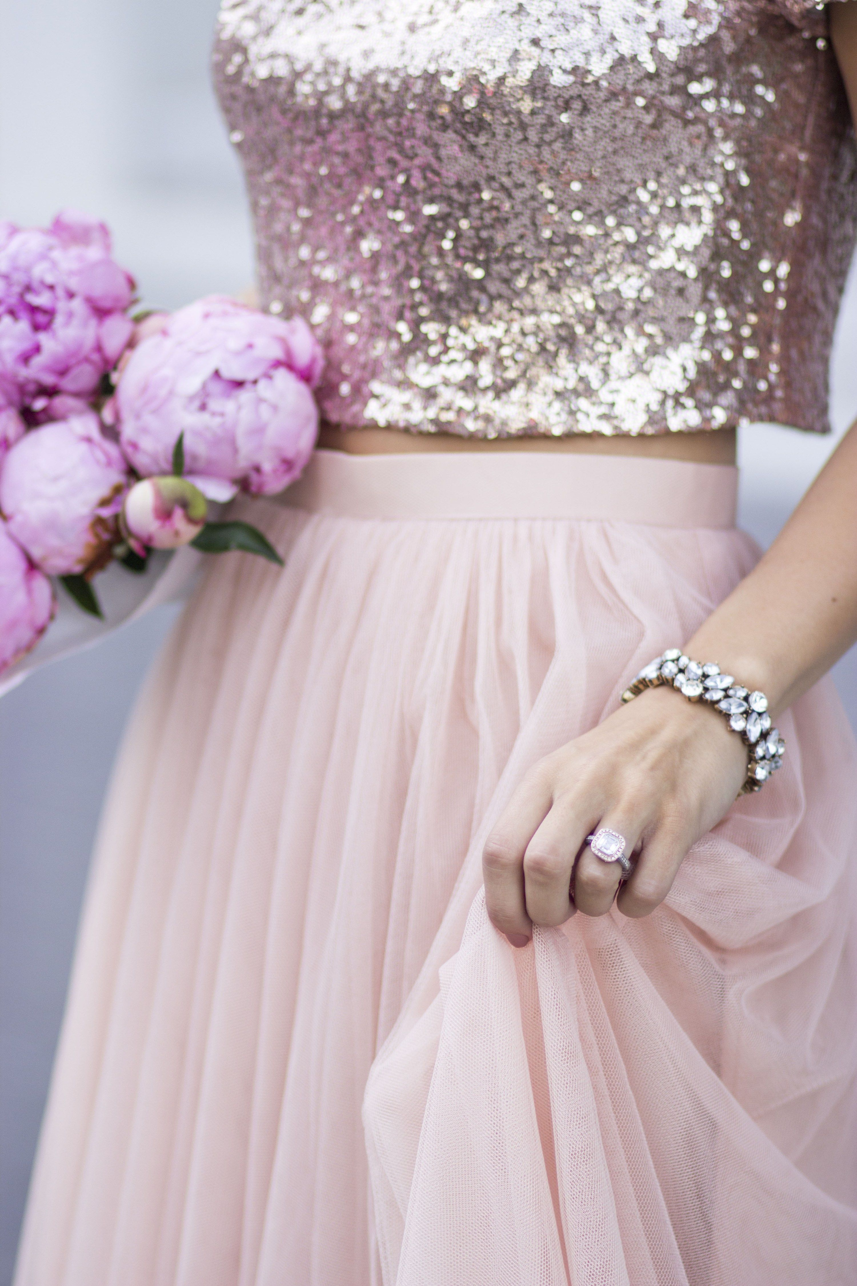 Adore Rose Gold Sequins And Blush Tulle Together 3