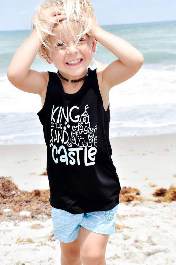5fe1f73d9 King of the Sand Castle, Boys Summer tank, summer t shirt, beach tank, kids  tank top, summer outfit,