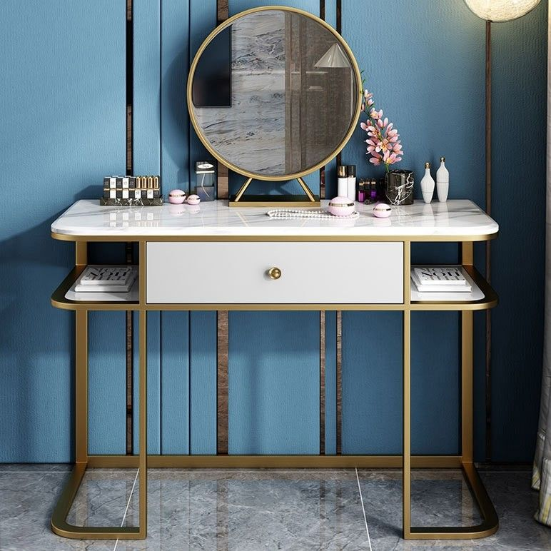 Faux Marble Tabletop Dressing Makeup Table With Mirror Drawer Chair Included Metal Base In Gold Small Large Mirror Drawers Makeup Table With Mirror Makeup Table
