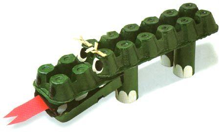 Egg Carton Croc Hacerlo Uno Mismo Pinterest Cocodrilos - Manualidades-con-objetos-reciclados-para-nios