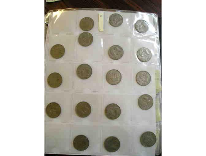 The coins in this package includes: Un Peso-1958, 1959, 1964, 1967, 1971 (11); 1972, 1974; 1975 (2); 1976; 1977 (3). Cinco Centavos-1950, 1956, 1957, 1961, 1970, 1973. Cincuenta Centavos-1983. Estados Unidos Mexicanos-1958, 1959, 1964, 1967. Diez...