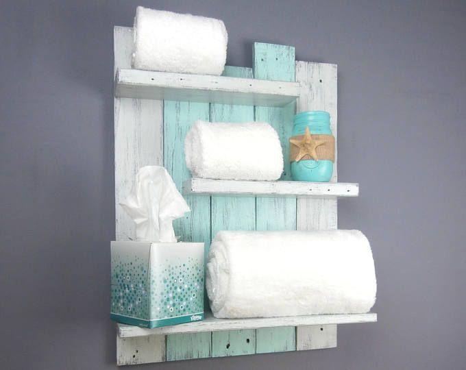 Coastal Bathroom Shelving Over The Toilet – Reclaimed Wood Rolled Bath  Towel Rack – Chunky Bathroom