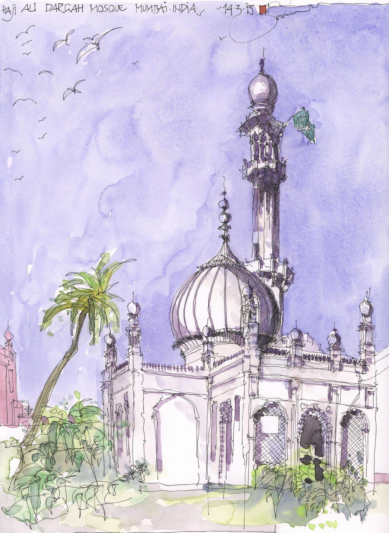 Haji Ali Dargah Moschee, Mumbai, INDIA | Art - Sketching | Pinterest