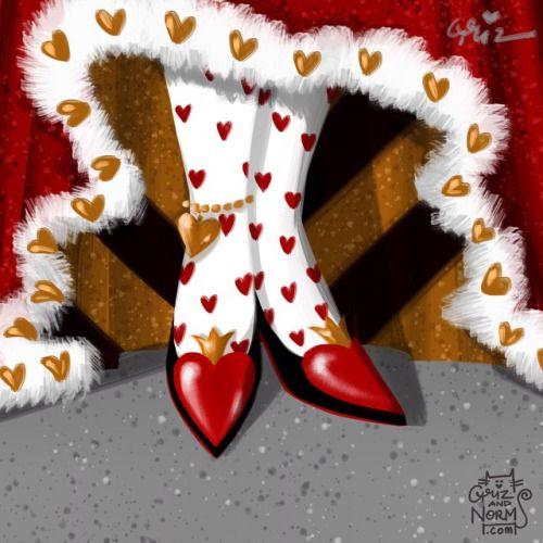 Sarah Cross:  Queen of hearts in @louboutinworld inspired pumps
