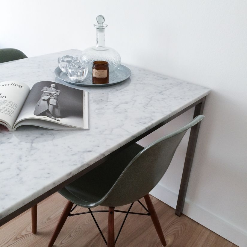 Marble Table And Green Eames Chairs Kitchen Pinterest Eames - Eames marble table