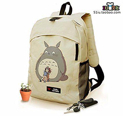Schultertasche Tasche Shoulder Bag Canvas Messenger Turnbeutel Rucksack Anime reisetaschen Grau Katze totoro
