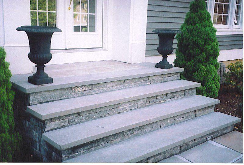 Concrete Stairs With Stone Veneer And Bluestone Treads Fischer Landscape Restoration Design Concrete Front Steps Front Door Steps Front Steps Stone