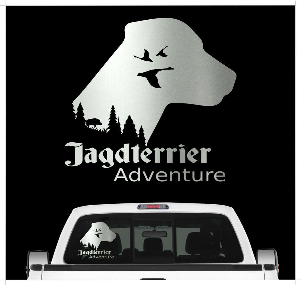 Auto Aufkleber Deutscher Jagdterrier Adventure Hundemotiv