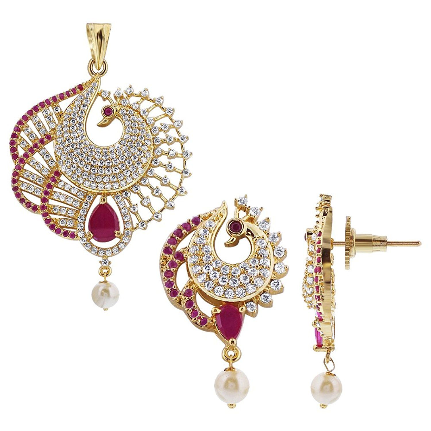 Synthetic ruby with cubic zirconia and pearl peacock gold plated
