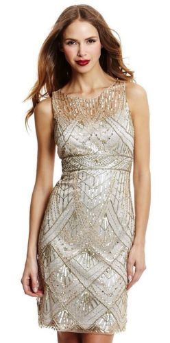 Sue Wong Champagne Gold Great Gatsby Art Deco Sequins and Beaded Dress Sz 0 | eBay
