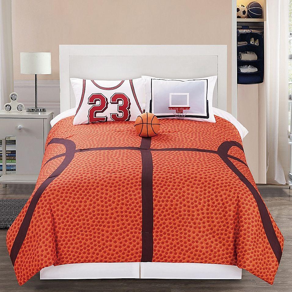 B Ball 3 Piece Reversible Twin Comforter Set In Orange In 2020