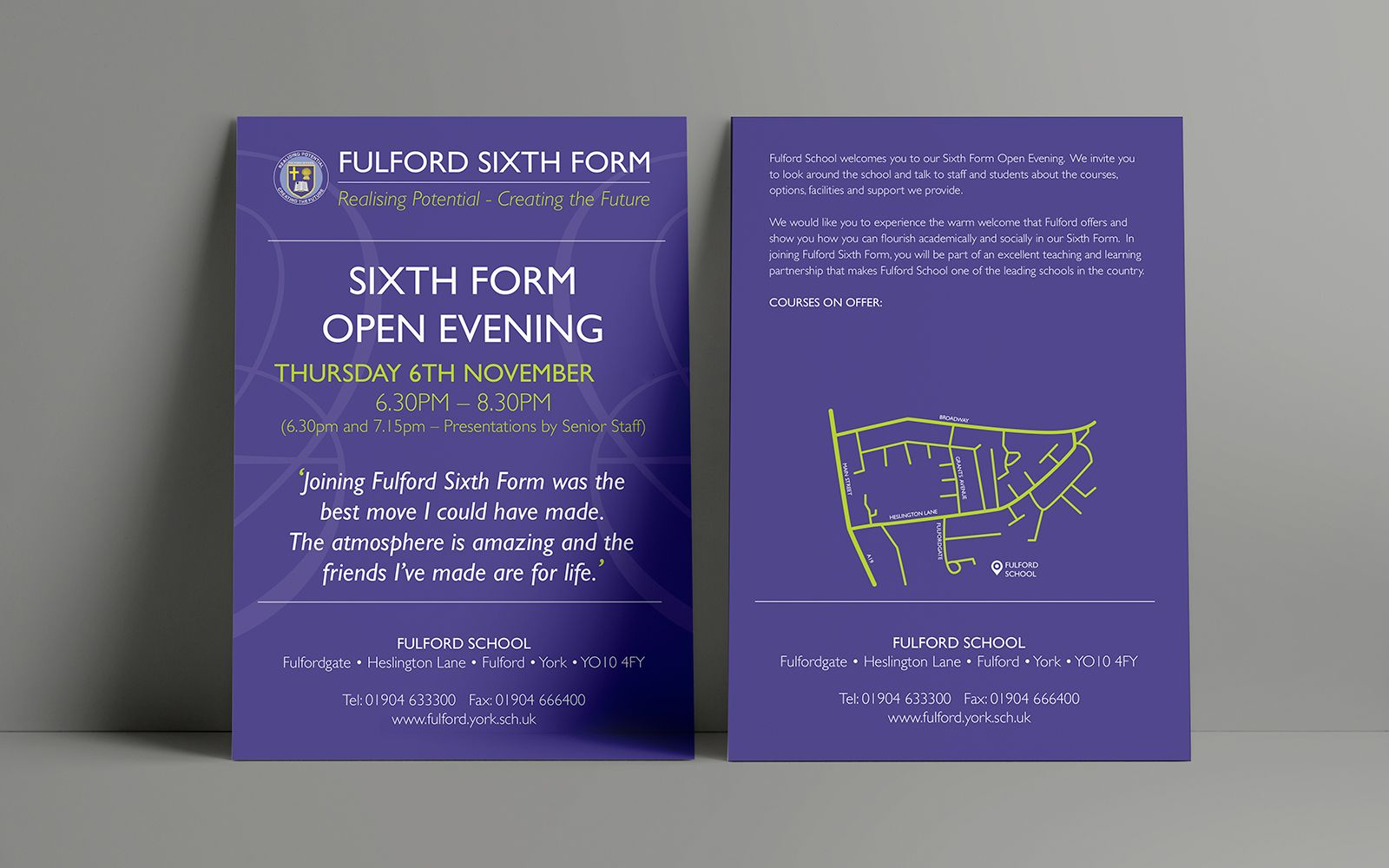Fulford School Sixth Form Open Evening Leaflets And Flyers Design