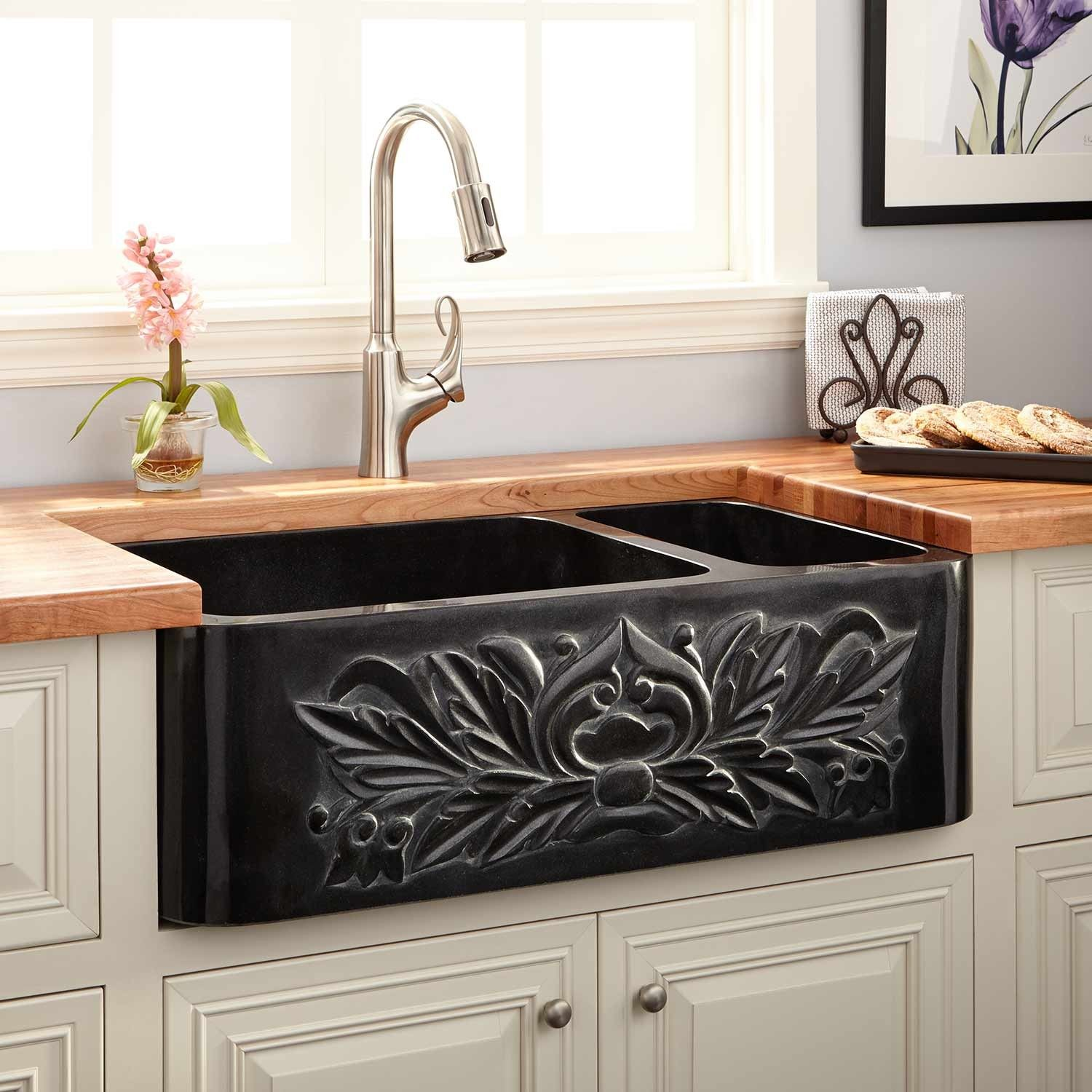 33 X 20 X 10 Ivy Natural Granite Large Offset Double Bowl Farmhouse Sink Polished Design And Polis Farmhouse Sink Stone Farmhouse Sink Black Farmhouse Sink