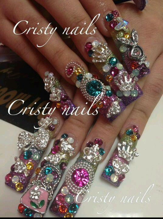 Super Long Bling Out Nails Pinterest Curved Nails Beautiful