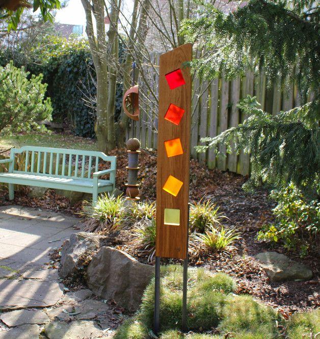 Gartenskulptur aus Holz und Glas | Gartenskulpturen, Skulptur und Holz