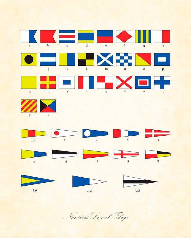 Vintage International Nautical Signal Flags Art Print 8x10 Home