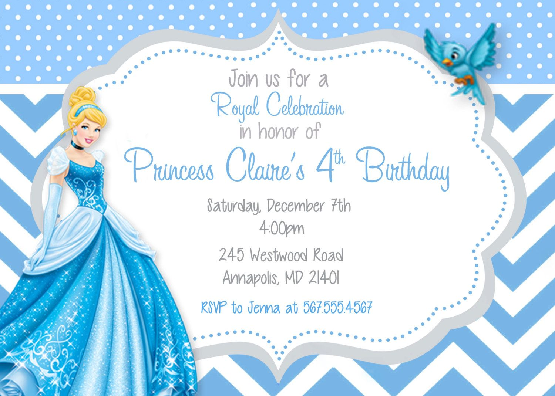 Download Free Printable Cinderella Birthday Invitations