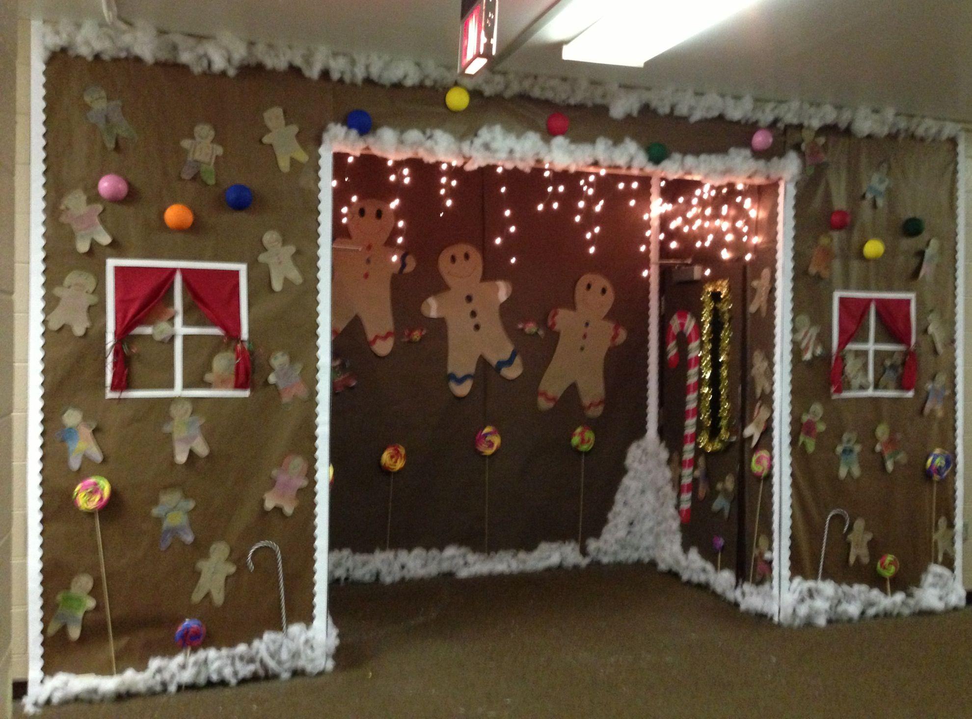 Gingerbread house for decorate your door contest. | School ...