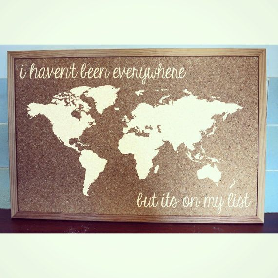 world map travel cork board medium by burntsiennapaint on etsy