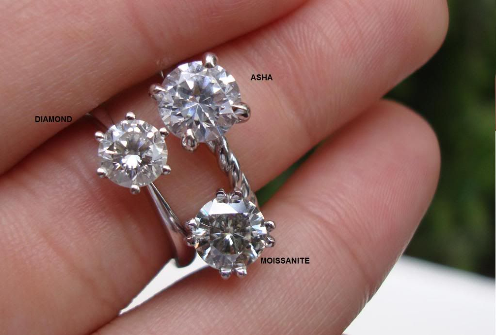 Better Than Diamond >> Pics Of Asha Vs Moissanite Vs Diamond Betterthandiamond Com
