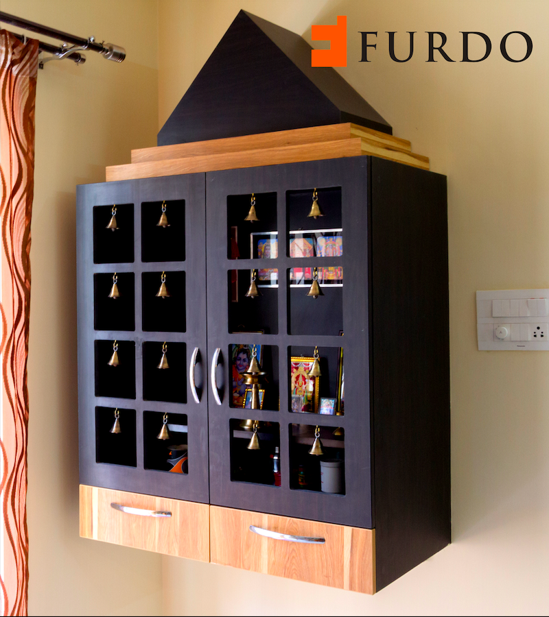 Enchanting Dark Brown Puja Unit Mandir With Bells By Furdo Temple Design For Home Pooja Room Door Design Room Door Design