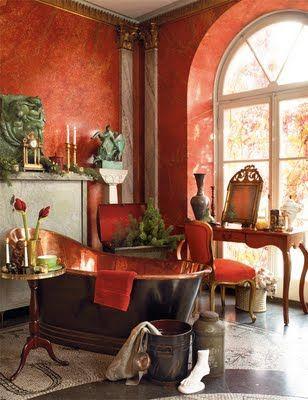 Boiserie C Bagno Rosso Pompeiano Pompeian Red Bathroom