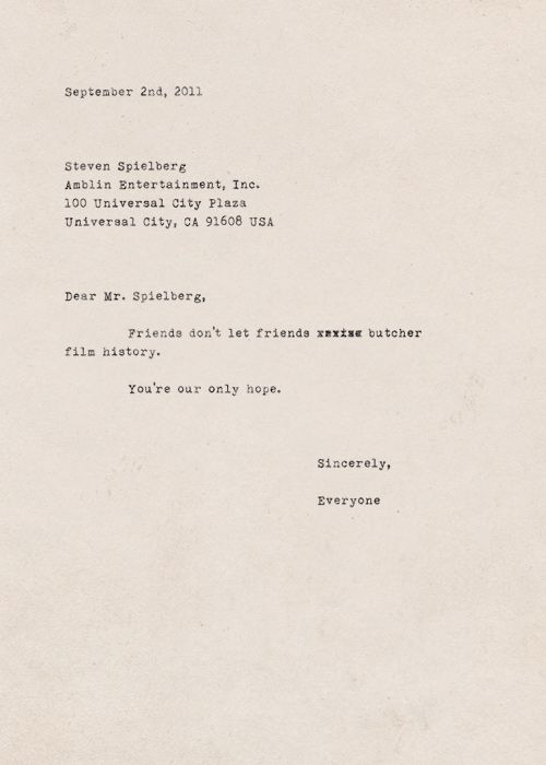 The Letter I'D Send Spielberg Re: George Lucas If I Thought It'D