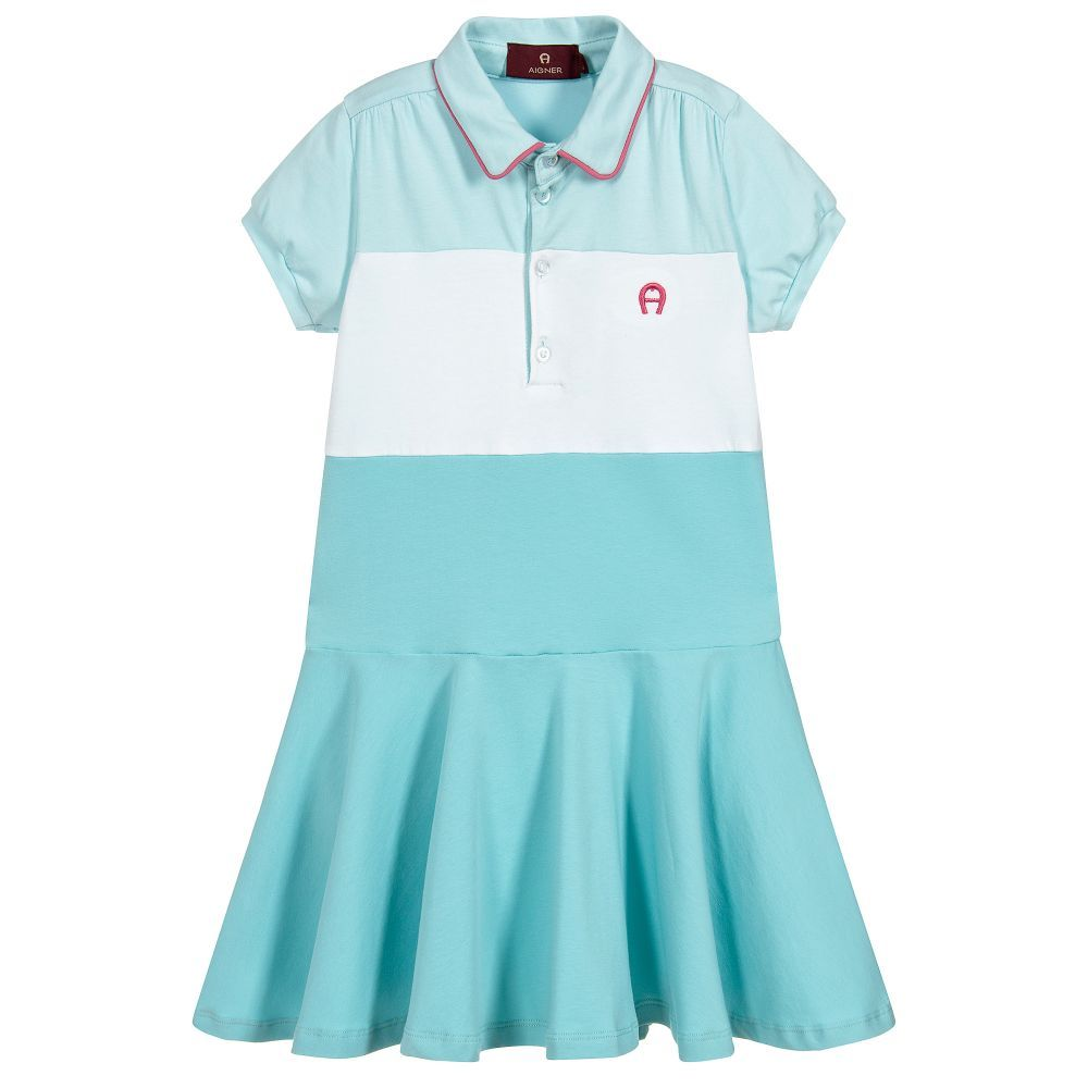 ef26f23d4 Girls aqua blue cotton jersey #dress with a white panel and #pink piping on  the collar, by #Aigner Kids. With the signature pink embroidered logo on  the ...