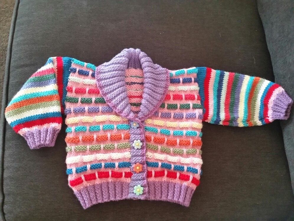 A knitted fun hokey multi coloured cardigan made with wool. | Ideas ...
