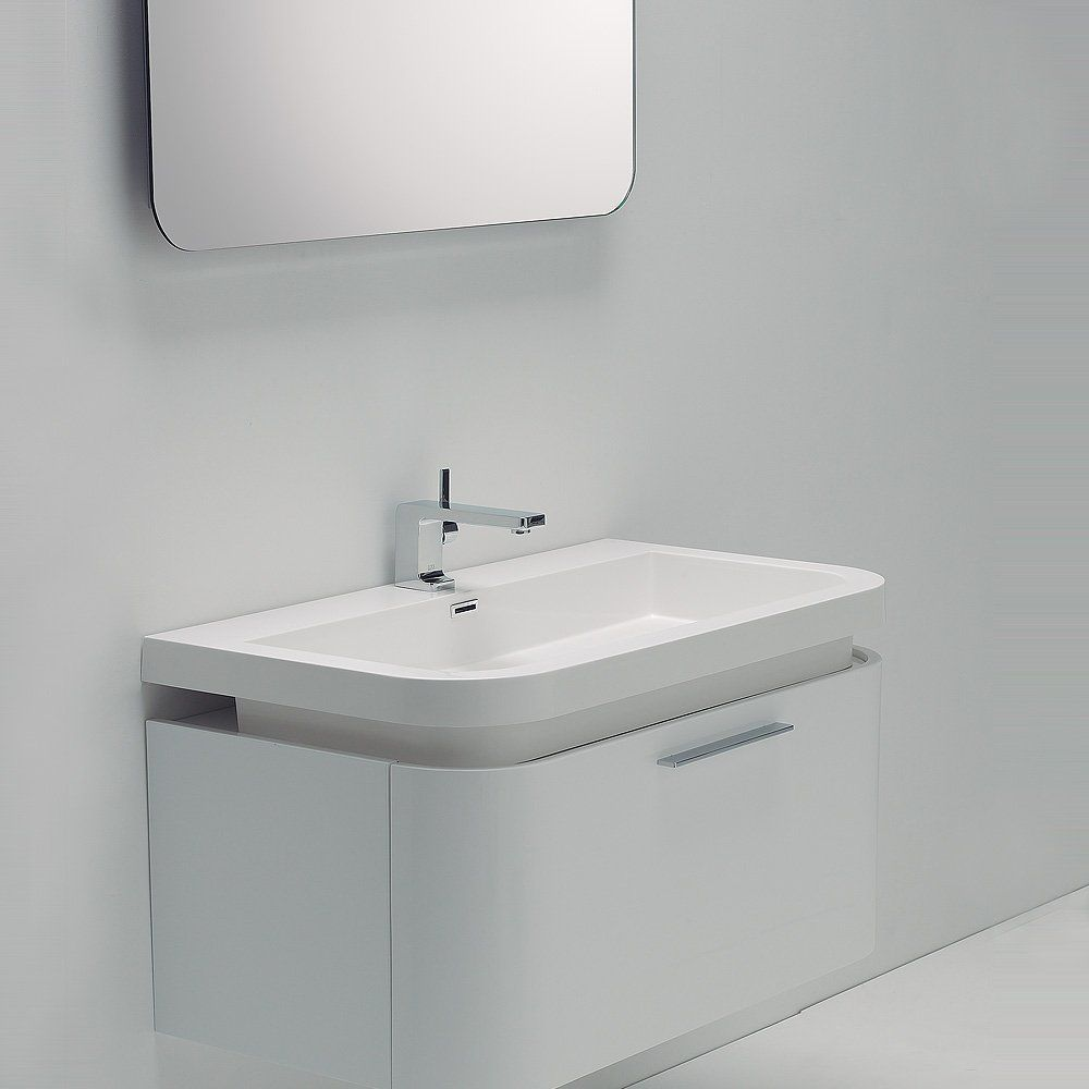 Lusso Stone Vos White Wall Mounted Designer Bathroom Vanity Unit 900 Vanity Units Small Bathroom Vanities Bathroom Vanity Units Wall Hung Vanity