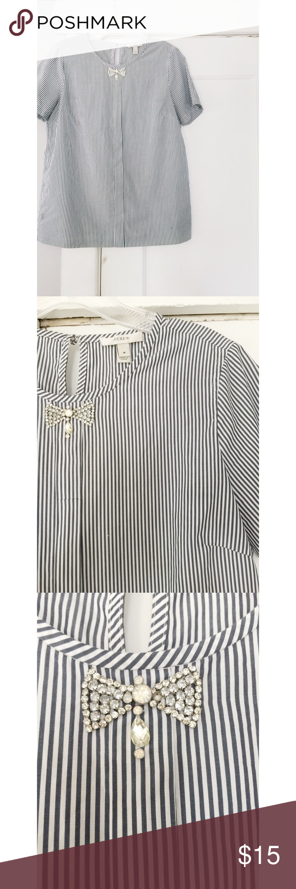 J. Crew Embellished Top J. Crew Embellished Top.  Rhinestone bow.  Women's size 4.  True to size.  Blue and white pin stripe. J. Crew Tops Blouses