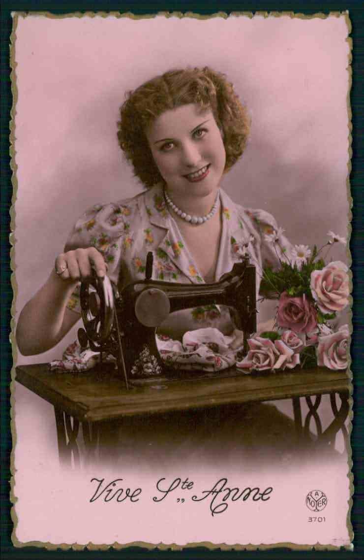 Sewing Machine Lady Original Old c1930 1940s Photo Postcard BB02 | eBay