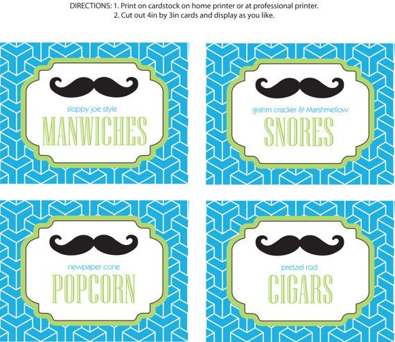 Diy Printable Little Man Party Food Labels Mustache Bash By Bugluv