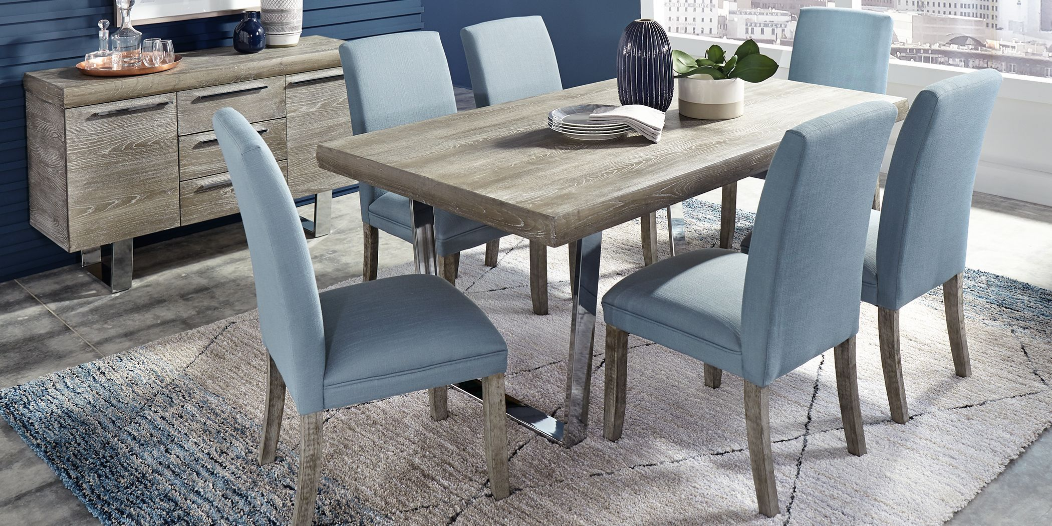 Cindy Crawford Home San Francisco Gray 5 Pc Dining Room With Blue Chairs In 2021 Dining Room Sets Affordable Dining Room Affordable Dining Room Sets