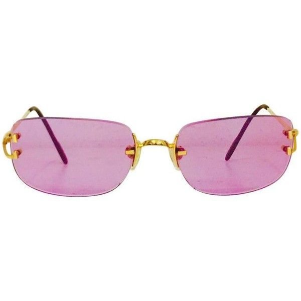 200dde51ca0 Cartier Rimless Sunglasses With Rose Pink Tinted Lenses ( 781) ❤ liked on  Polyvore featuring accessories