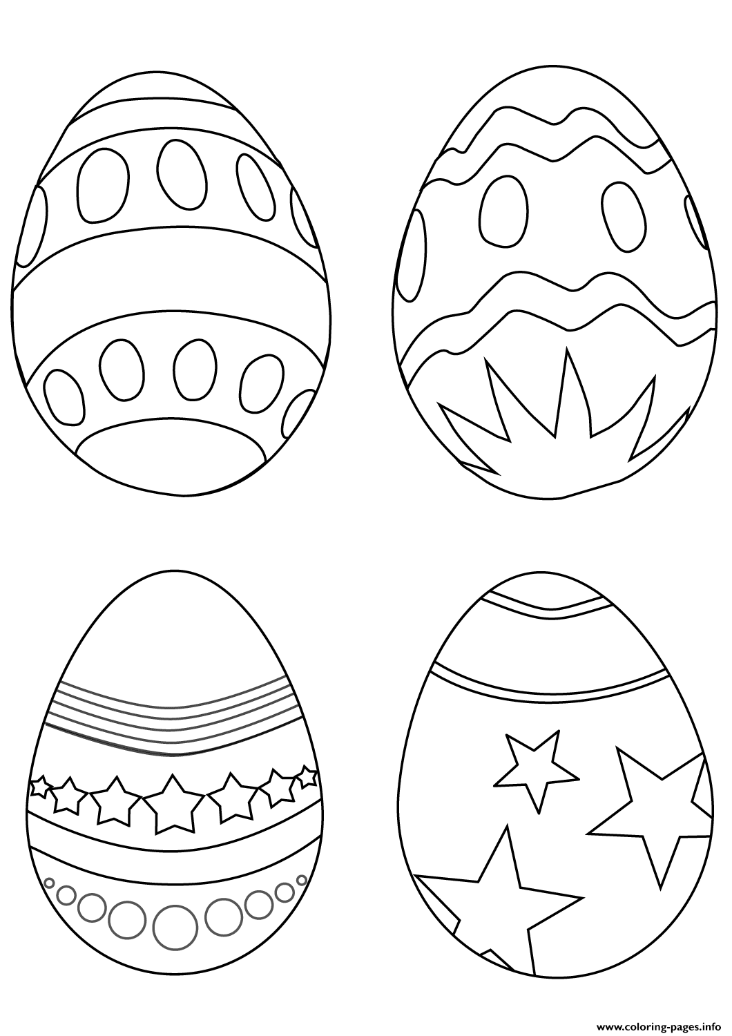 Print simple easter eggs coloring pages (With images