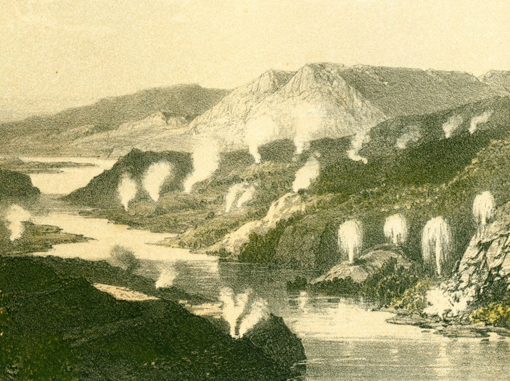 1881 Geysers Source Jaissantes Nouvelle Zelande Gravure Etsy Art Prints Geology Art Geology