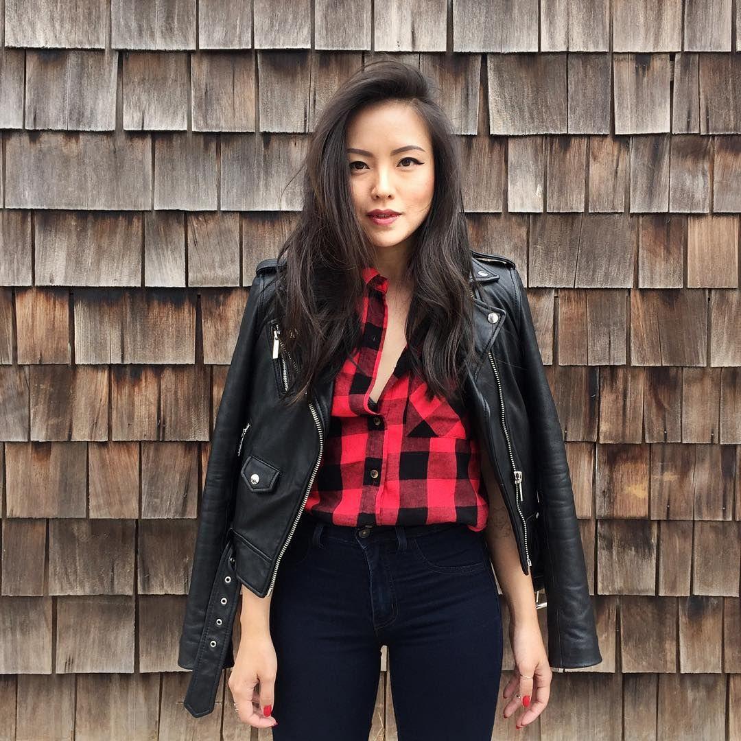 Leather jacket instagram - Buffalo Check Shirt Leather Jacket Instagram Hey_im_kate Ootd