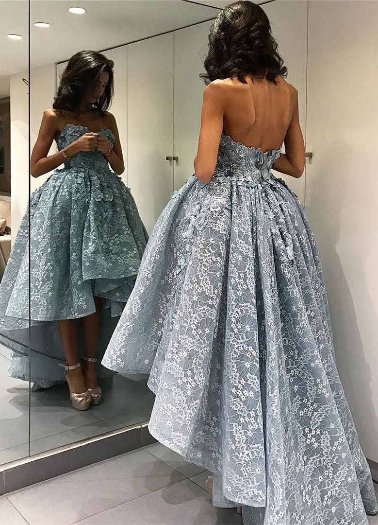 special sweetheart sleeveless backless high low grey lace prom