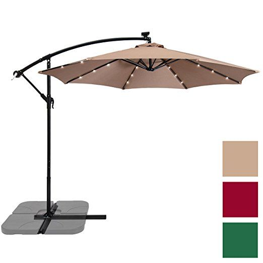 4992ae620d16f Amazon.com : Best Choice Products 10ft Solar LED Patio Offset Umbrella-  Burgundy : Garden & Outdoor